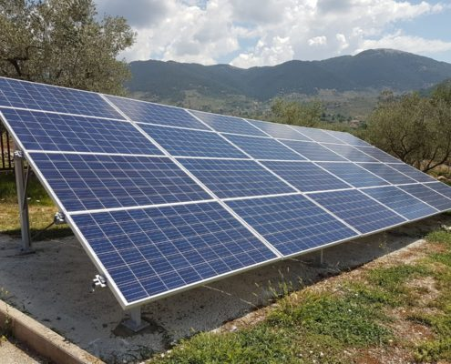 Impianto fotovoltaico con gabbie