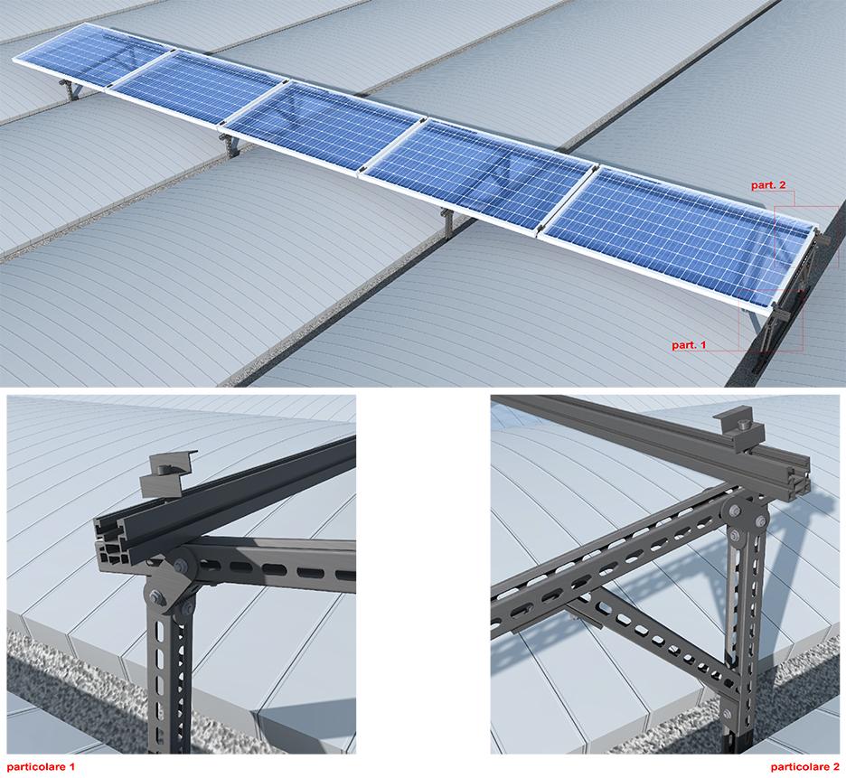 Tetto cupolino con moduli fotovoltaici trasversali al cupolino