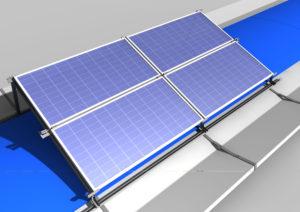 Struttura su cupolino poer fotovoltaico con 2 moduli