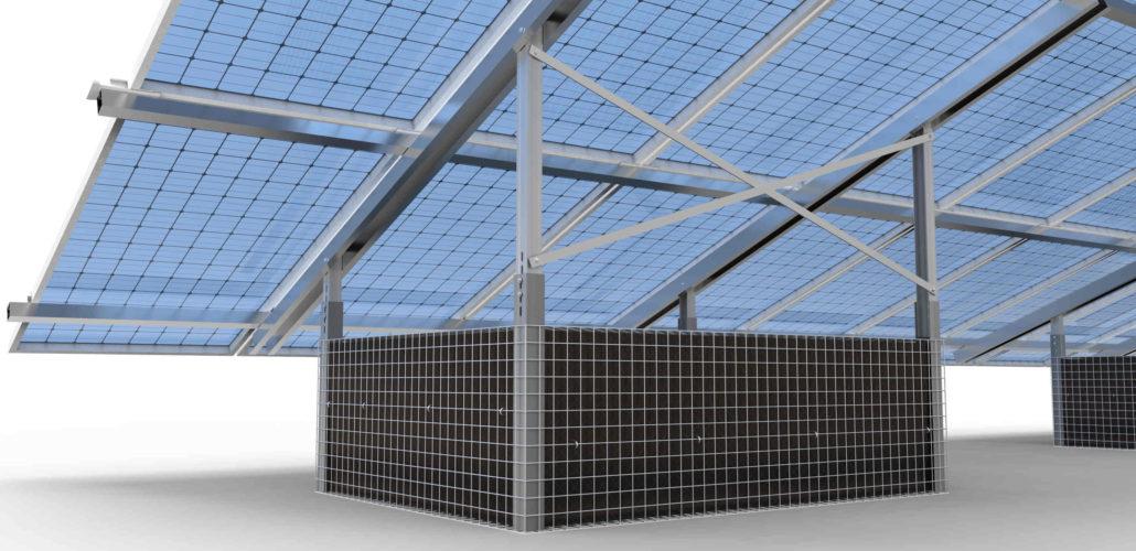 Struttura terra fotovoltaico con gabbie