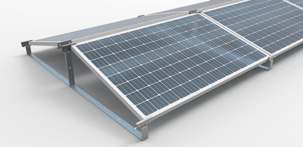Struttura ESt- Ovest impianto fotovoltaico su tetto piano